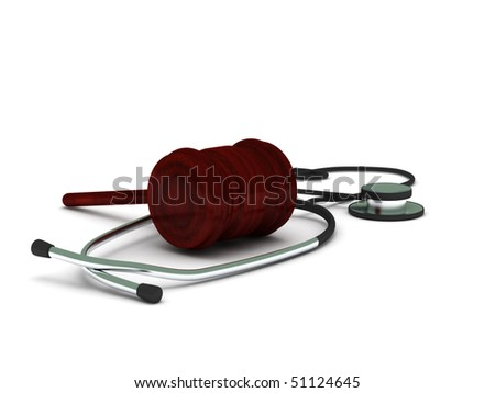Medical report. Stethoscope and gavel isolated on white background. High quality 3d render. - stock photo