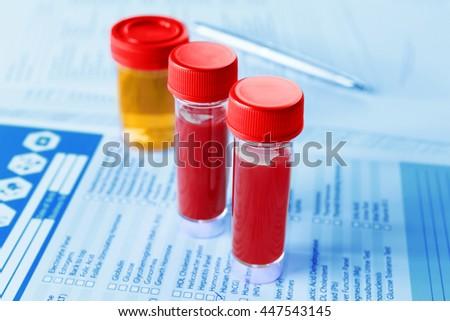 Medical report with analysis, closeup - stock photo