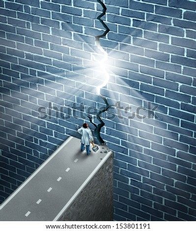 Medical research breakthrough as a health care and medicine science discovery concept as a doctor holding a sledge hammer breaking down a brick wall obstacle as a metaphor for finding a cure. - stock photo