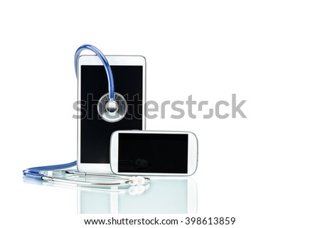 Medical Research,digital tablet, cell phone and stethoscope, Modern Disease