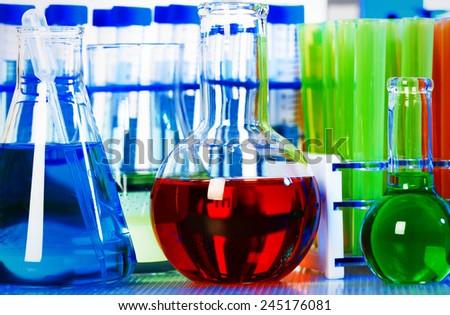 Medical research. Scientific laboratory tube with liquid - stock photo