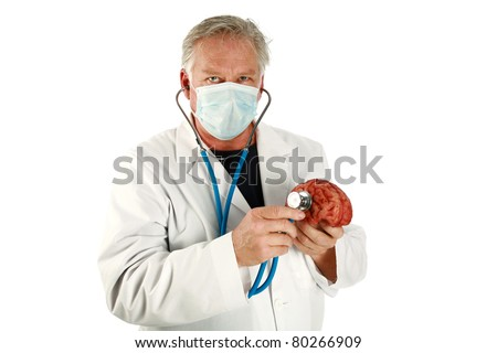 medical, science, brain surgeon, humor - A world famous Brain Surgeon examines another human brain for possible replacement while the top of his head has been removed. Isolated  with room for text - stock photo