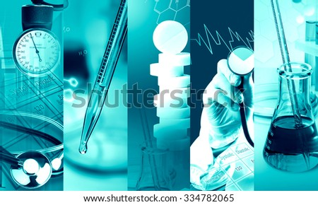 Medical services photo collage (with copy space) - stock photo
