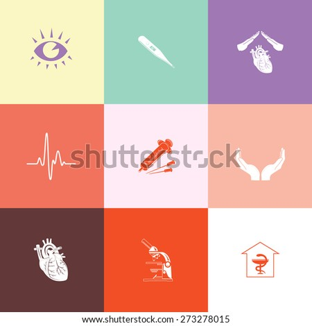 Medical set. Flat color raster icons. - stock photo