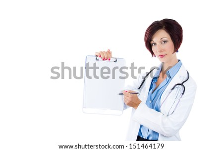 Medical sign. A portrait of a friendly woman doctor showing empty blank clipboard sign with copy space for text. Isolated on a white background. - stock photo