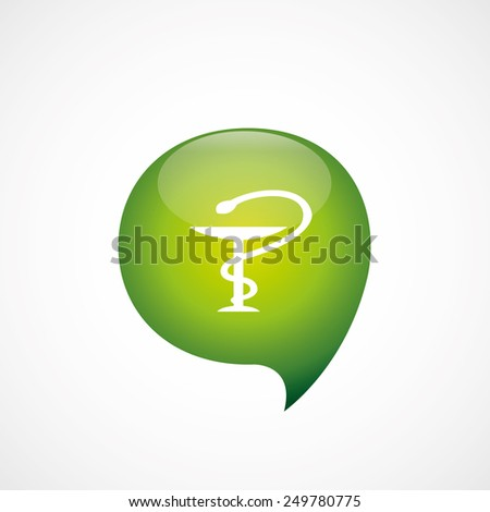 medical sign icon green think bubble symbol logo, isolated on white background
