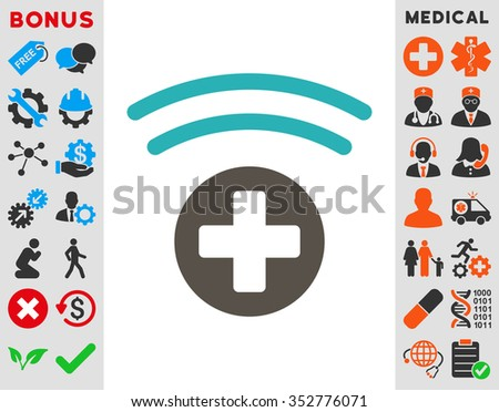 Medical Source glyph icon. Style is bicolor flat symbol, grey and cyan colors, rounded angles, white background. - stock photo