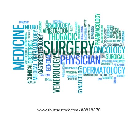 medical specialist professionals info-text graphics and arrangement concept on white background (word clouds)