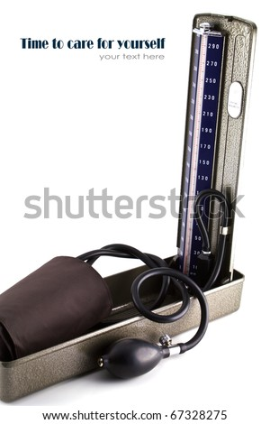 Medical sphygmomanometer for blood pressure control isolated on white background. - stock photo