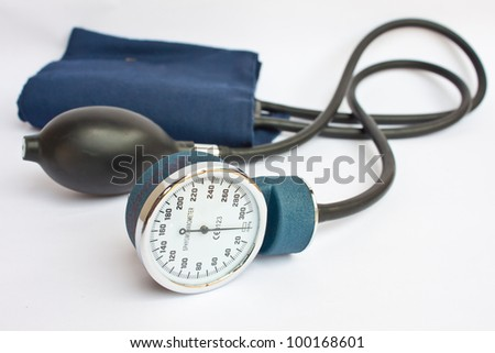 Medical Sphygmomanometer for blood pressure control on white background