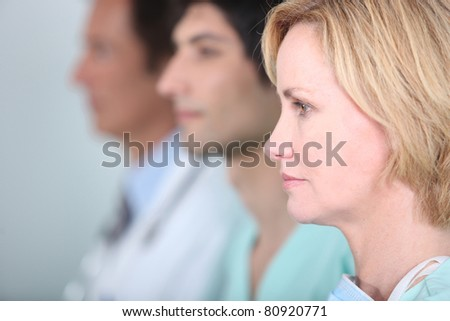 Medical staff in line - stock photo
