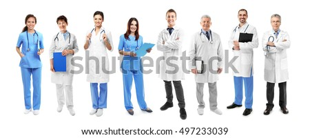Medical staff on white background.