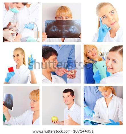 Medical staff portrait set - stock photo