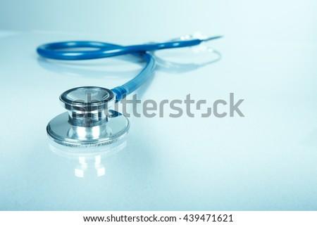Medical stethoscope. - stock photo