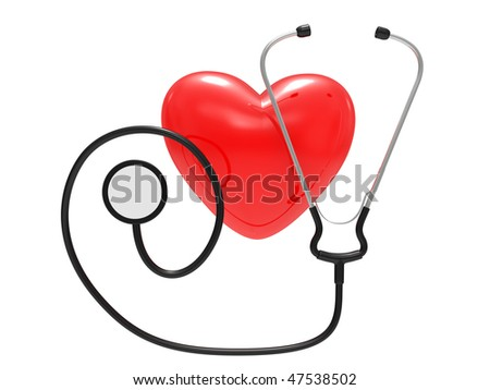 Medical stethoscope and heart isolated on a white background