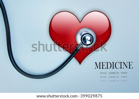 Medical stethoscope and heart isolated on white. - stock photo