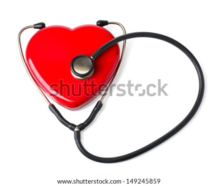 Medical stethoscope and heart isolated on white.With clipping path