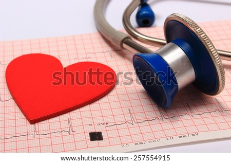 Medical stethoscope, electrocardiogram graph and heart shape, ekg heart rhythm, medicine concept - stock photo