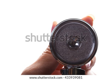 Medical stethoscope in hand