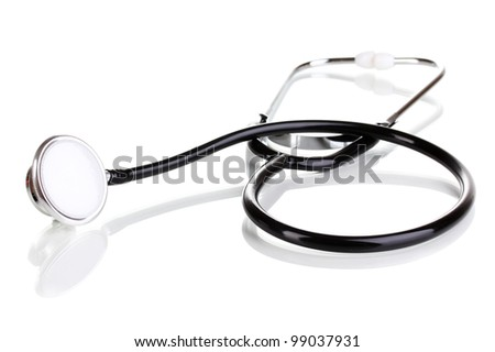 Medical stethoscope isolated on white - stock photo