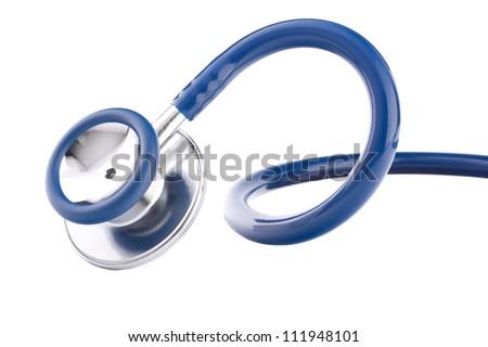Medical stethoscope or phonendoscope isolated on white background cutout - stock photo