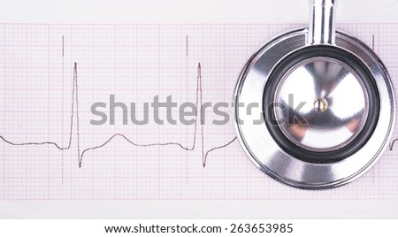 Medical stethoscope to listen to the lungs and heart lies on the cardiogram - stock photo