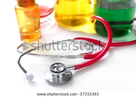 Medical still photo with stethoscope over white background - stock photo