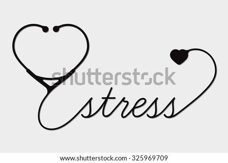 Medical stress symbol, cardiogram - stock photo