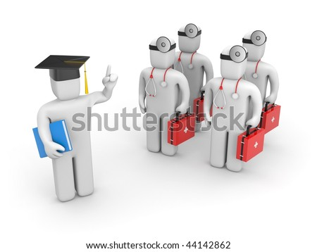 Medical student and lecturer or academic - stock photo