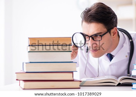 Medical student preparing for university exams