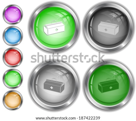 Medical suitcase. Raster internet buttons.  - stock photo