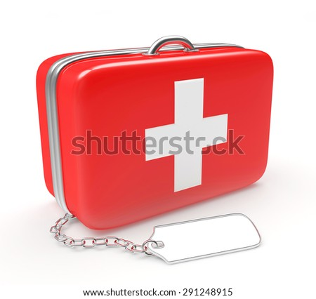Medical suitcase with blank label isolated on white background