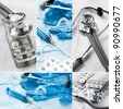 Medical supplies collage - stock photo