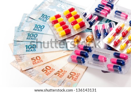Medical supplies, pills ,capsules and brazilian currency