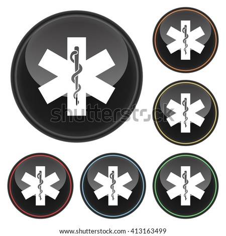 Medical Symbol Icon Glossy Button Icon Set in With Various Color Highlights. Raster Version - stock photo