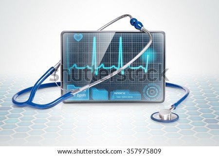 Medical tablet showing ECG on futuristic background - stock photo