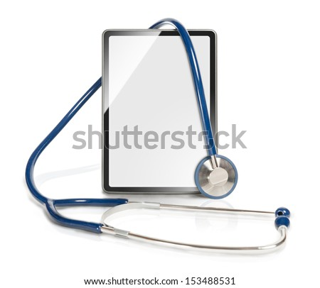 Medical tablet with screen as copy space.