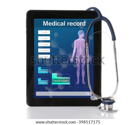 Medical tablet with stethoscope isolated on white - stock photo