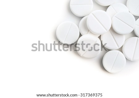 medical tablets isolated on white background - stock photo