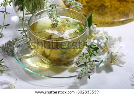 Medical tea with fragrant grasses and mint in a transparent cup
