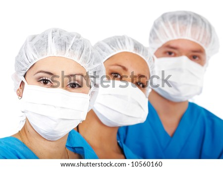 medical team isolated over a white background - stock photo