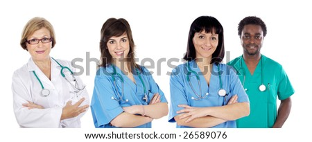 Medical team of four doctors on a over white background