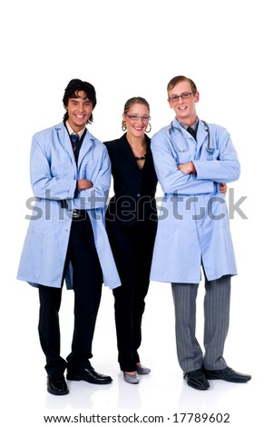 Medical team, two young male cardiologist and female assistant.  Studio, white background. - stock photo