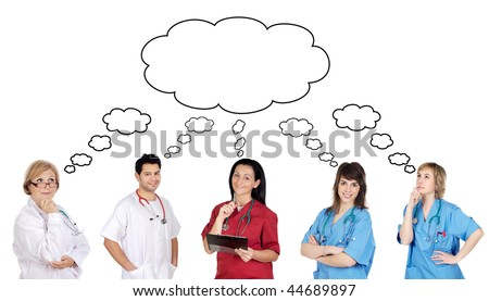 Medical team with pensive face on a over white background