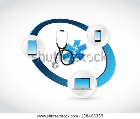 medical technology connected concept illustration design over white - stock photo