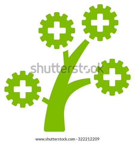 Medical Technology Tree raster icon. Style is flat symbol, eco green color, rounded angles, white background. - stock photo