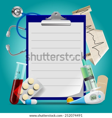 Medical template with medicine equipment and notes medical frame - stock photo