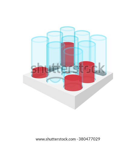 Medical test tubes with blood in holder icon - stock photo