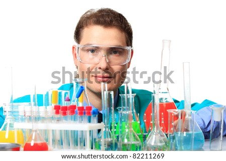 Medical theme: scientist is working in a laboratory. Isolated over white.