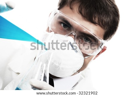 Medical theme: serious doctor working in a laboratory.